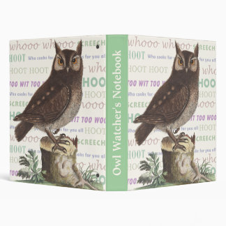 Owl Watcher's Vintage Notebook For Nature Lovers Binders