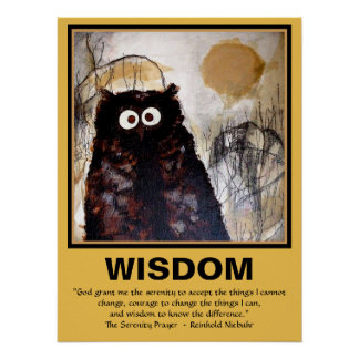 Owl Watercolor Art I Wisdom Poster
