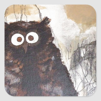 Owl Watercolor Painting Square Sticker
