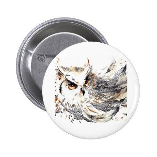Owl watercolor pinback button
