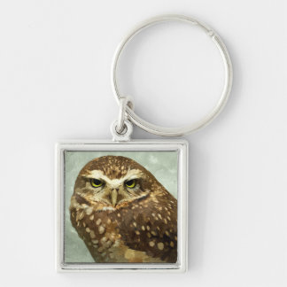 Owl Watercolor Silver-Colored Square Keychain