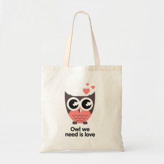 Owl we need are love wink tote bag
