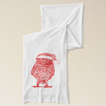 Owl wearing Santa Hat Scarf