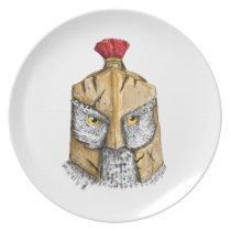 Owl Wearing Spartan Helmet Tattoo Dinner Plate