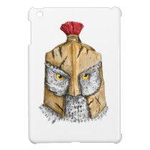Owl Wearing Spartan Helmet Tattoo iPad Mini Covers