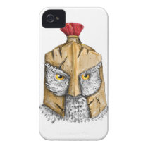 Owl Wearing Spartan Helmet Tattoo iPhone 4 Case