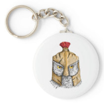 Owl Wearing Spartan Helmet Tattoo Keychain