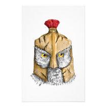 Owl Wearing Spartan Helmet Tattoo Stationery