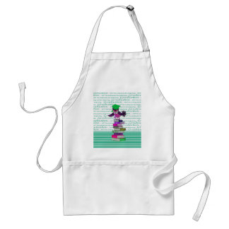 Owl Wearing Tie and Grad Cap on Top of Books, Grad Adult Apron