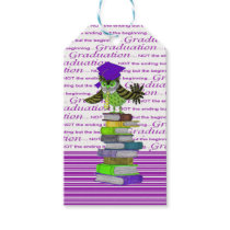 Owl Wearing Tie and Grad Cap on Top of Books, Grad Gift Tags