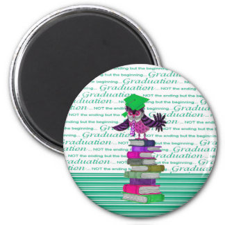 Owl Wearing Tie and Grad Cap on Top of Books, Grad Magnet