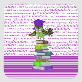 Owl Wearing Tie and Grad Cap on Top of Books, Grad Square Sticker