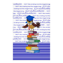 Owl Wearing Tie and Grad Cap on Top of Books, Grad Stationery