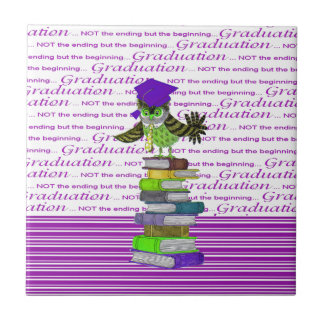 Owl Wearing Tie and Grad Cap on Top of Books, Grad Tile