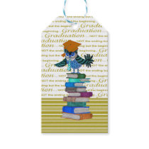 Owl Wearing Tie, Grad Cap on Top of Books, Grad Gift Tags