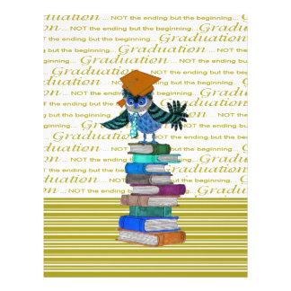 Owl Wearing Tie, Grad Cap on Top of Books, Grad Letterhead