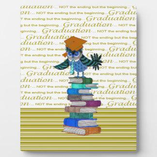 Owl Wearing Tie, Grad Cap on Top of Books, Grad Plaque