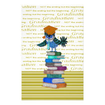 Owl Wearing Tie, Grad Cap on Top of Books, Grad Stationery