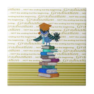 Owl Wearing Tie, Grad Cap on Top of Books, Grad Tile