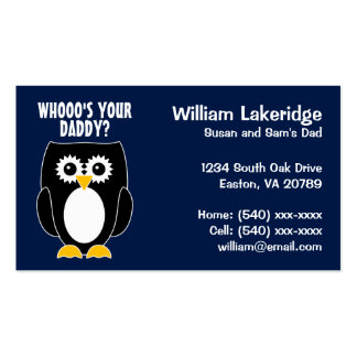 Owl Whooo's Your Daddy? Daddy Contact Card Double-Sided Standard Business Cards (Pack Of 100)
