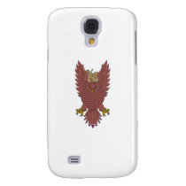 Owl Wings Spread Swooping Clock Gears Drawing Samsung Galaxy S4 Case