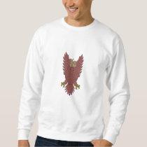 Owl Wings Spread Swooping Clock Gears Drawing Sweatshirt
