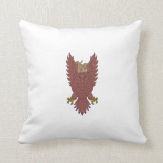 Owl Wings Spread Swooping Clock Gears Drawing Throw Pillow