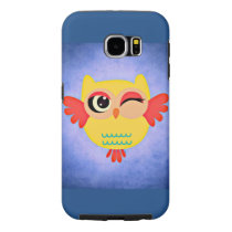 owl wink bird wings flight glow feathers animal samsung galaxy s6 case