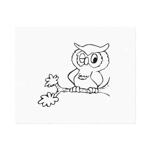 Owl Winking on Tree Branch Gallery Wrap Canvas