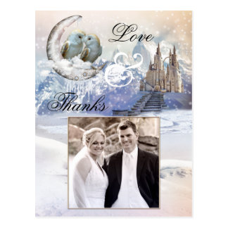 Owl Winter Wedding Photo Thank You Postcard