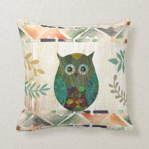 Owl Wisdom Tribal Motif Throw Pillow