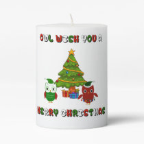Owl Wish You A Merry Christmas Holiday Candle