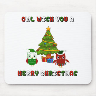 Owl Wish You A Merry Christmas Holiday Gifts Mouse Pad