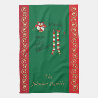 Owl Wish You a Merry Christmas Kitchen Towel