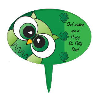 Owl Wishing you a Happy St. Patty's Day Cake Topper