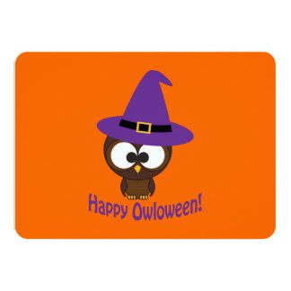 Owl Witch Halloween Party Invitation