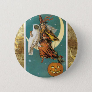 Owl Witch Moon Victorian Halloween Button
