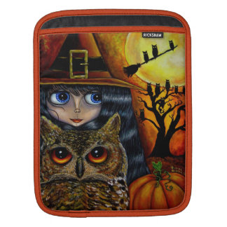 Owl Witch with Moon & Pumpkin Big Eye Doll Sleeve For iPads