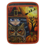 Owl Witch with Moon & Pumpkin Big Eye Doll Sleeves For iPads