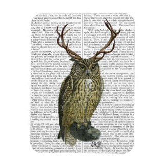 Owl with Antlers plain 2 Magnet