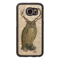 Owl with Antlers plain 2 Wood Phone Case