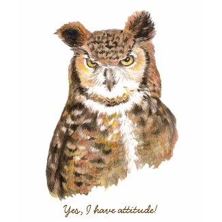 Owl with Attitude Ladies Tshirt shirt