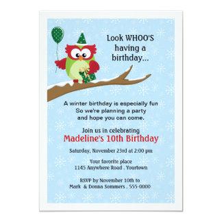 "Owl with Balloon Winter Birthday Invitation 5"" X 7"" Invitation Card"