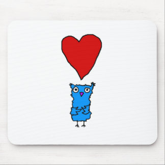 Owl With Big Heart Mouse Pad