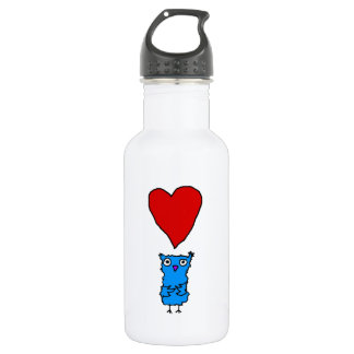 Owl With Big Heart Water Bottle