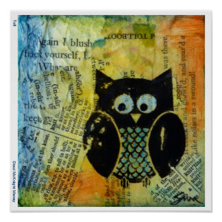 Owl with Blue and Orange Poster