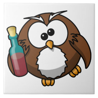 Owl with Bottle Tile