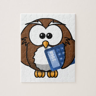 Owl with Calculator, math, student, accounting, Jigsaw Puzzle