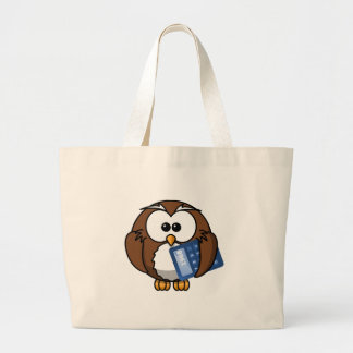 Owl with Calculator, math, student, accounting, Large Tote Bag