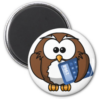 Owl with Calculator, math, student, accounting, Magnet